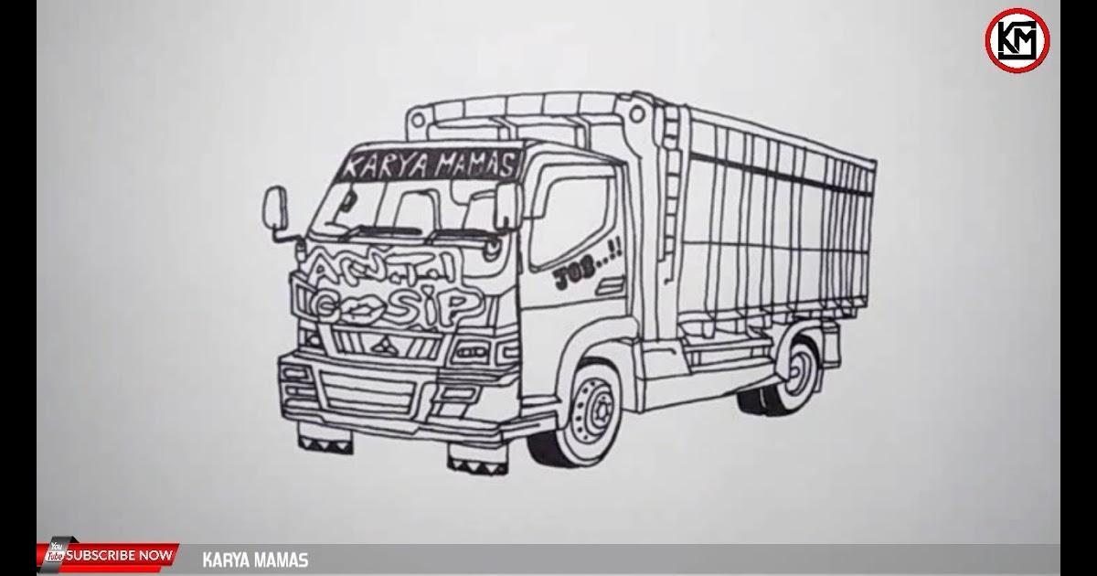 Sketsa Gambar Mobil Truk Canter Literatur