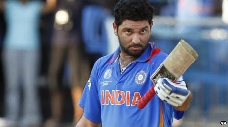 Yuvraj survived two dropped catches on his way to a first World Cup century