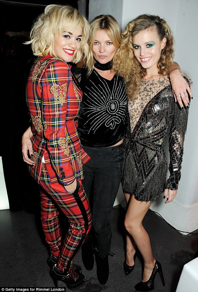 The queens of cool: Rita Ora, Kate Moss and Georgia May Jagger strutted their stuff in fun 80s-inspired ensembles as they attended Rimmel's 180 Years Of Cool party at the London Film Museum on Thursday night