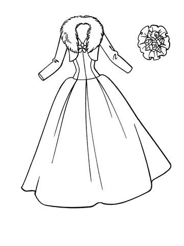 Dibujo De Vestido De Bodas Para Colorear Dibujos Para Colorear