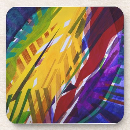 The City II - Abstract Rainbow Streams Beverage Coasters