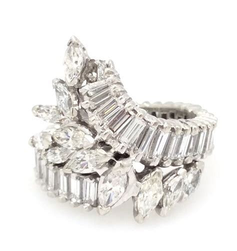 4 cts Baguette & Marquise Diamond Wrap Ring in Platinum