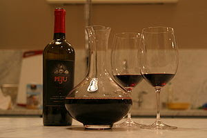 Wine decanter and glasses.
