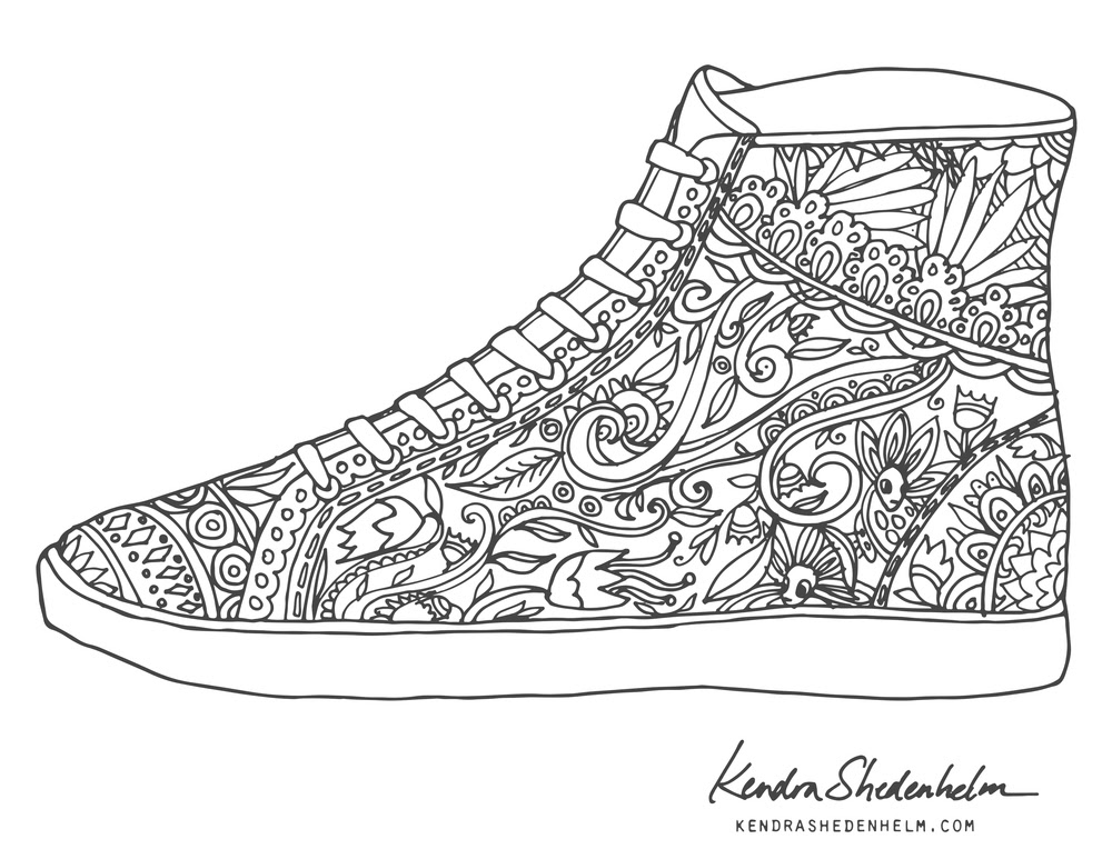 Basketball Shoe Coloring Pages Download And Print For Free Jeffersonclan