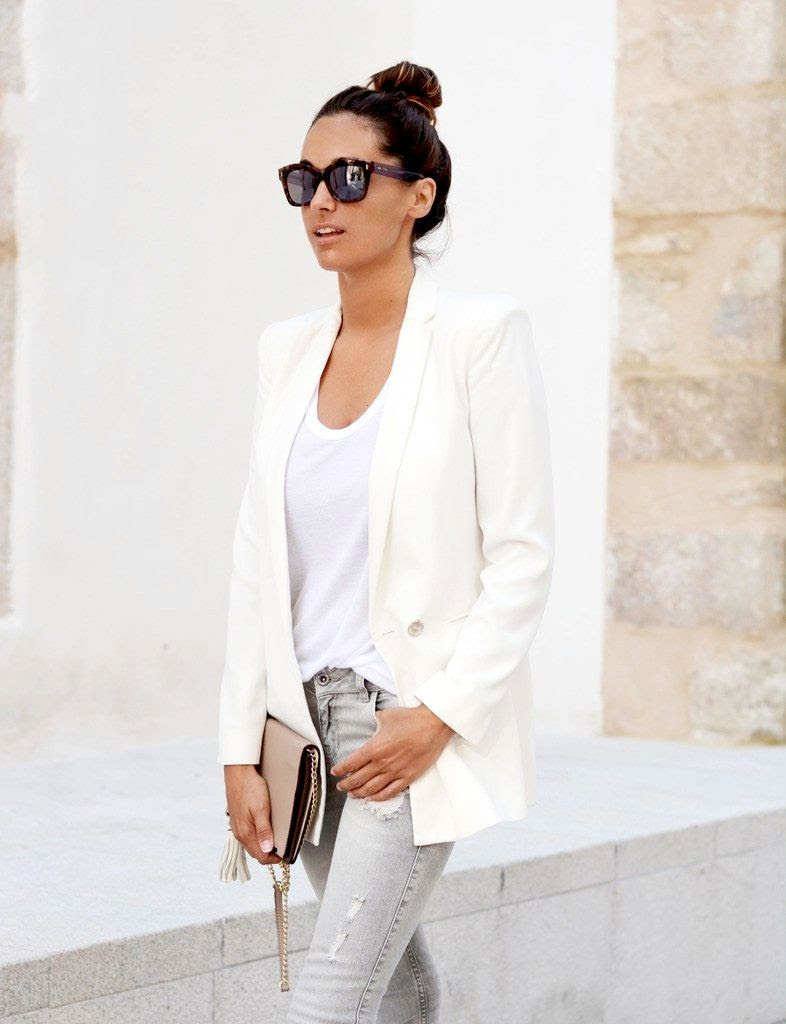 Le Fashion Blog -- Blogger Style -- Casual Chic Neutrals: Top Knot, Fendi Sunglasses, White Mango Blazer, Nude Clutch & Grey Jeans -- Via Maria Of Stella Wants To Die photo Le-Fashion-Blog-Blogger-Style-Casual-Chic-Neutrals-Fendi-Sunglasses-White-Mango-Blazer-Via-Maria-Of-Stella-Wants-To-Die.jpg