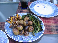 Grilled Broccolini, Small Potatoes, and Marinated Summer Squash
