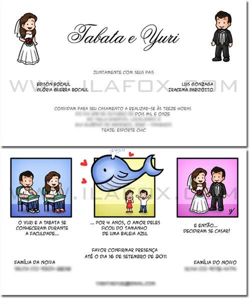 Convite em tirinhas, convite em quadrinhos, convite personalizado historia do casal, by ila fox