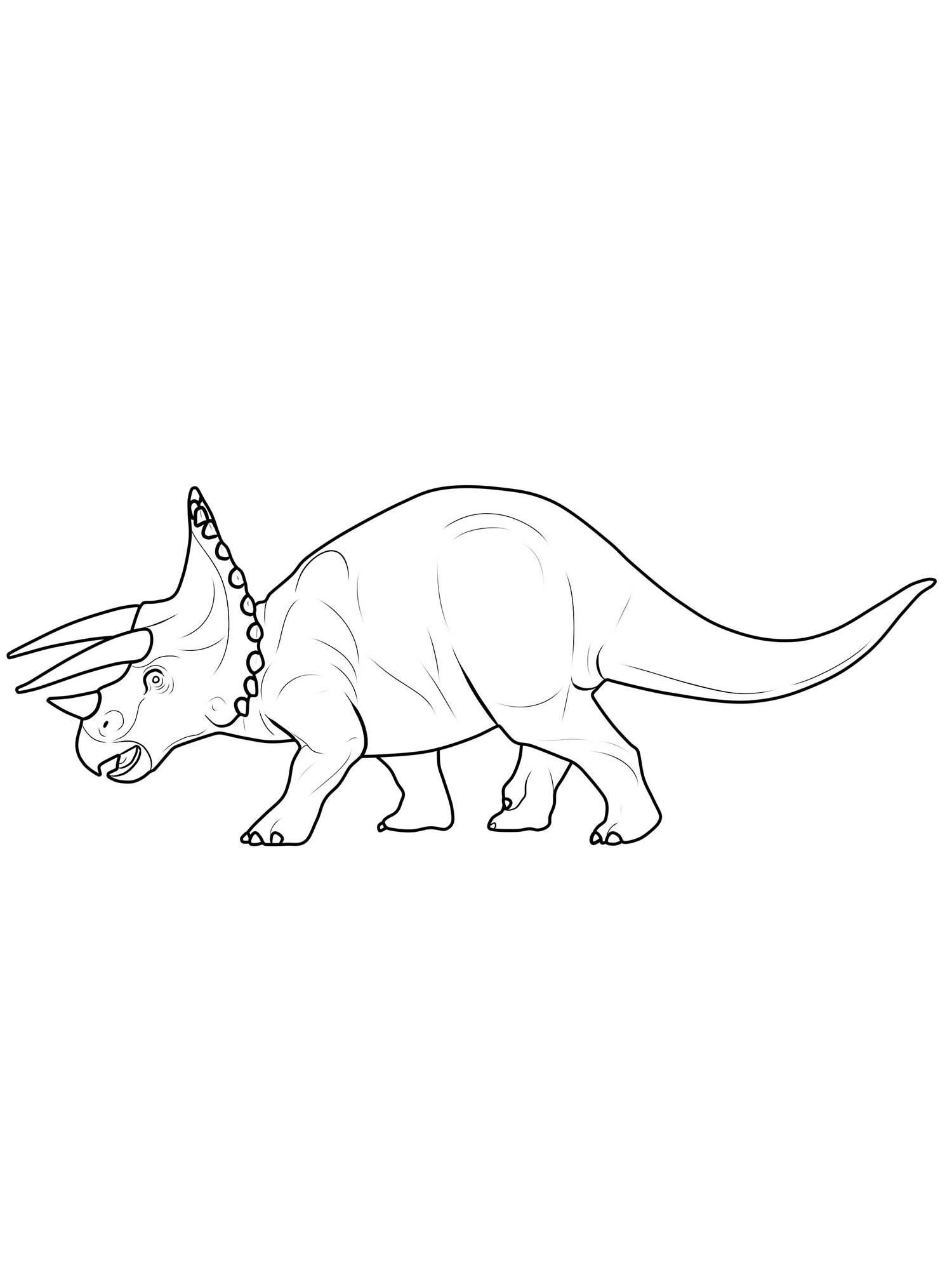 Ausmalbild Dinosaurier und Steinzeit Dinosaurier Triceratops kostenlos ausdrucken