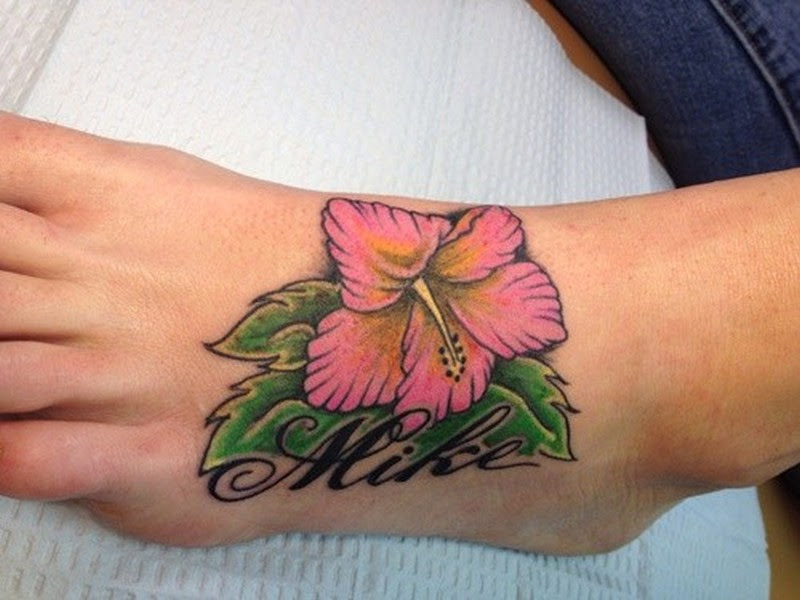 Nice Hibiscus Flower And Name Tattoo On Foot Tattoos Book 65000