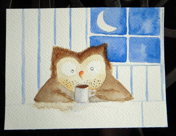 Works the Night Shift - owl with coffee watercolor, kitchen art, sleepy owl, kitchen, tea, morning, whimsical, small art, blue, face stubble - TerraBlueArt