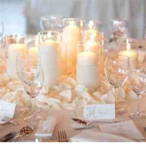 White candles and white rose petals simple, classic