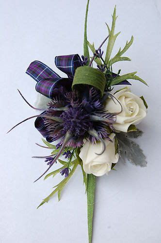 A Spiky Thistle, Heather, Rose & Pride of Scotland Corsage