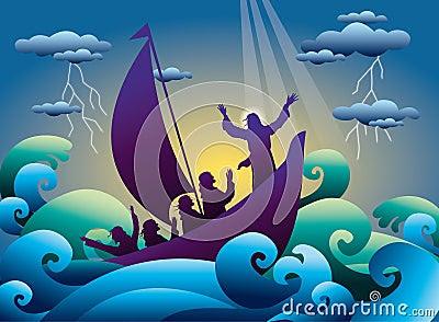 Jesus acalma a tempestade no barco