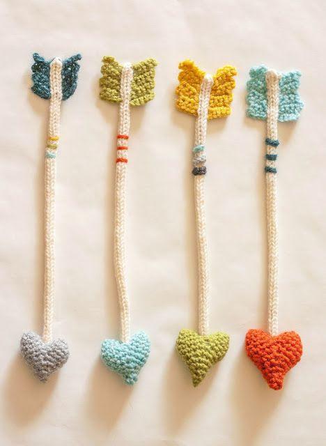 crochet heart arrows.