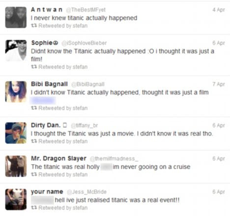 Revelation: It took until the centenary of the Titanic disaster for some internet users to discover the truth