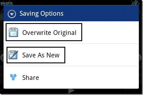 AndroVid Saving Options