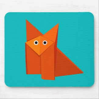 Cute Origami Fox Mouse Pad