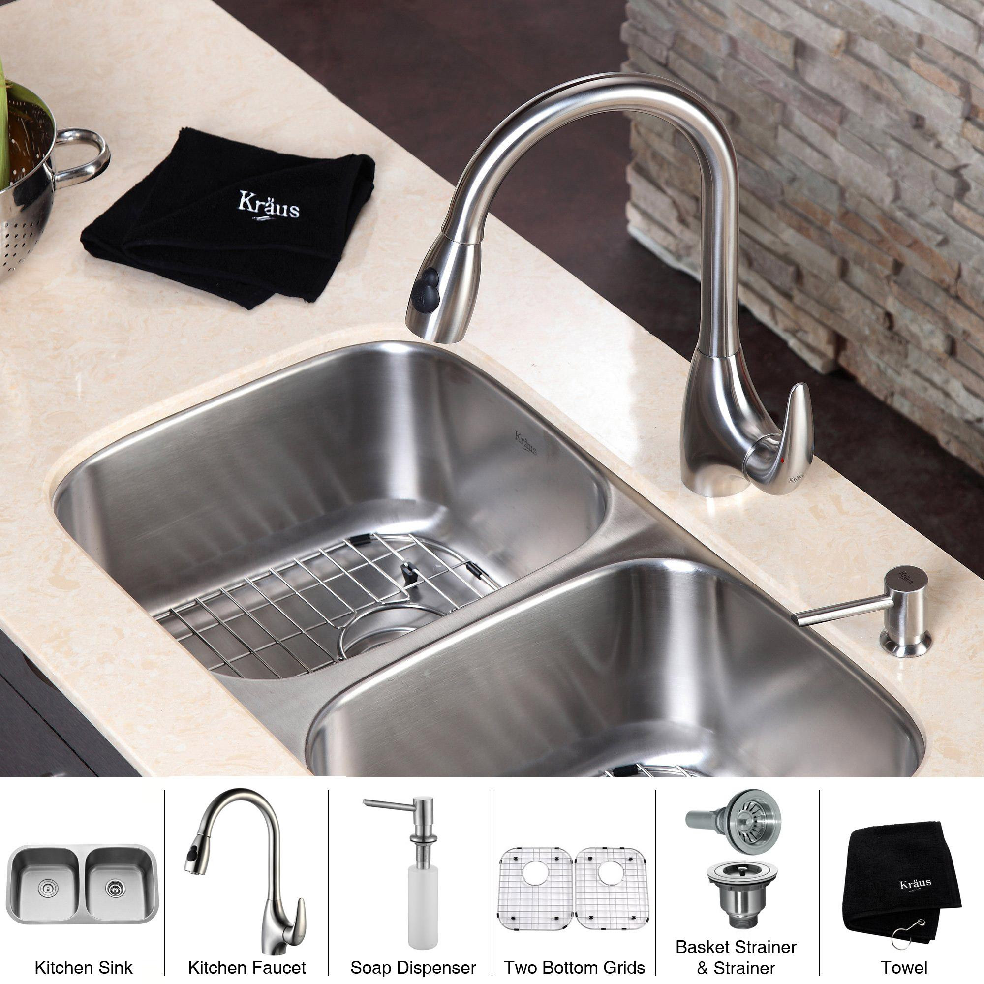 Kraus Kitchen Combo Set Stainless Steel Double Undermount Sinkfaucet