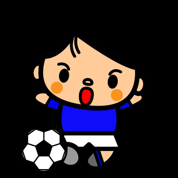 かわいいサッカースライディングの無料イラスト商用フリー オイデ43
