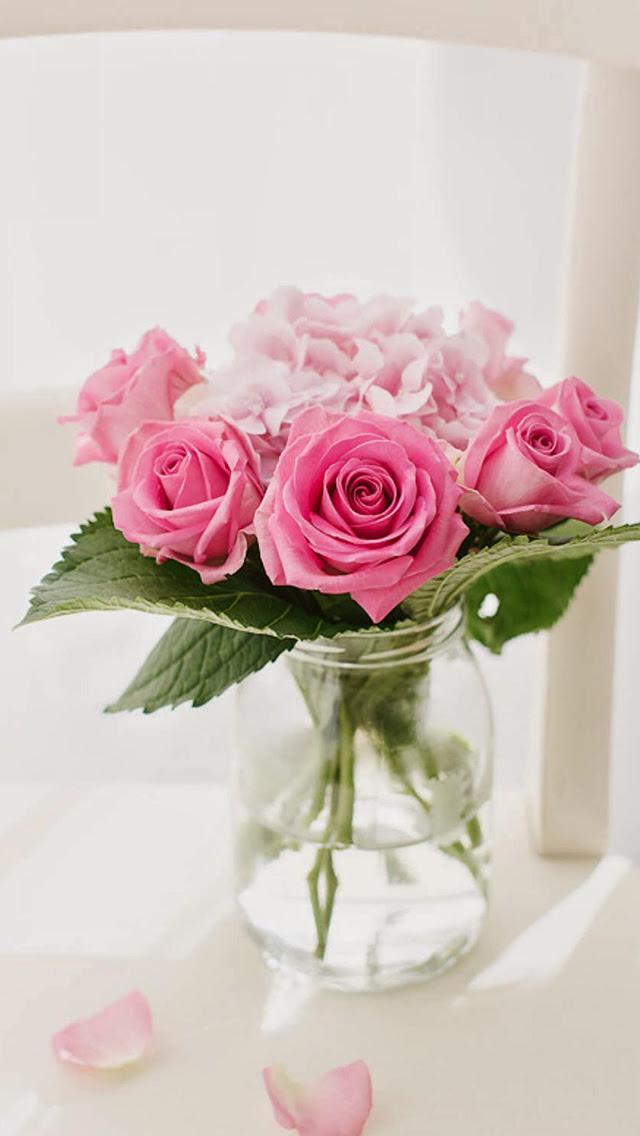 Pink Rose Bouquet Vase Macro Iphone 5s W 薔薇の花 ローズ