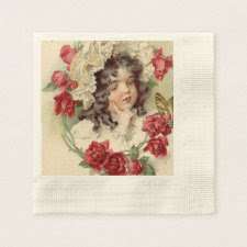 Victorian cutie coined cocktail napkin