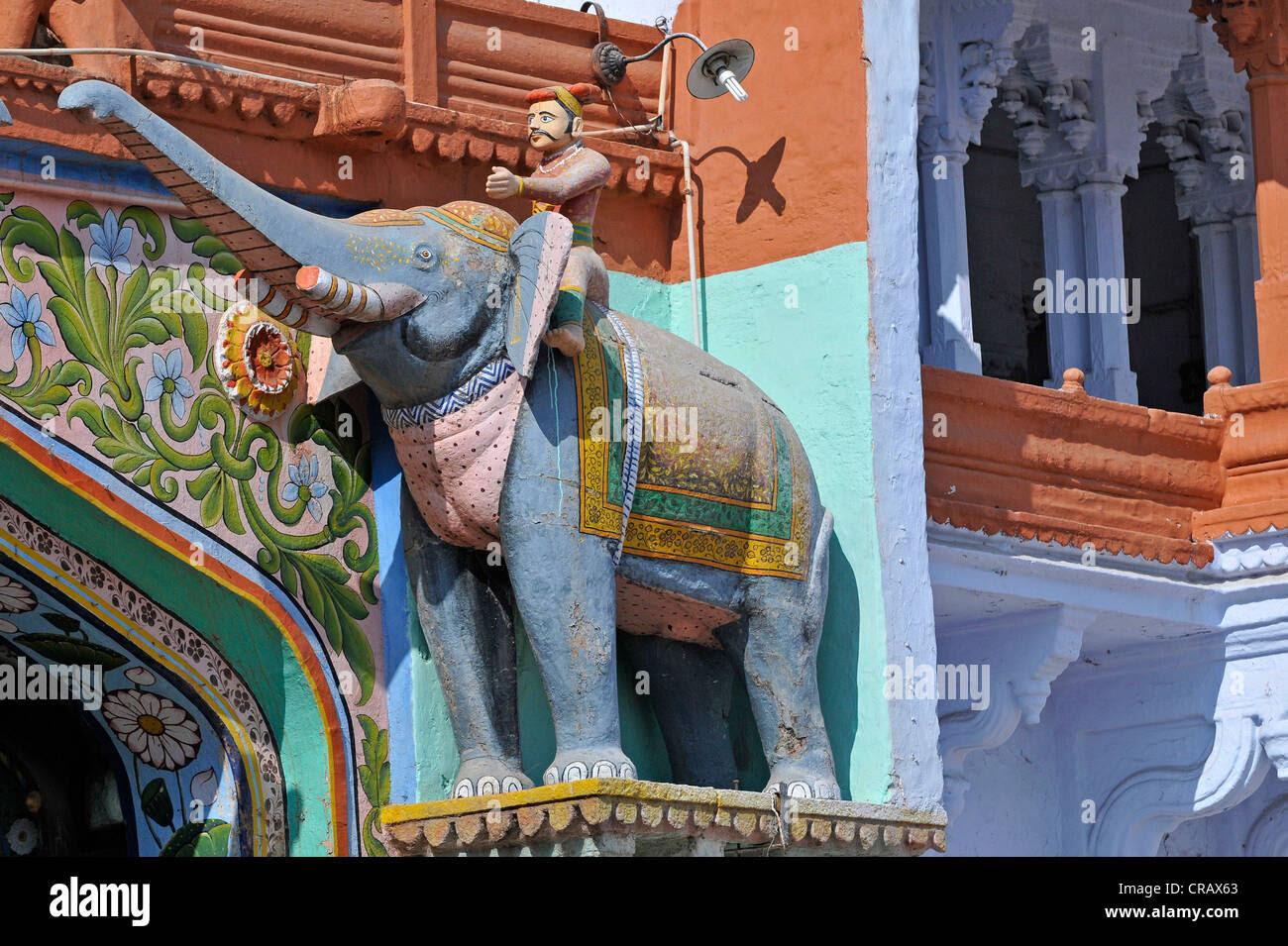 Elefant Skulptur An Der Pforte Zum Palast Von Kota Rajasthan