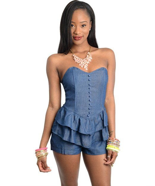 2LUV Women's Denim Button-Down Ruffle Romper Navy S(WDN2140)