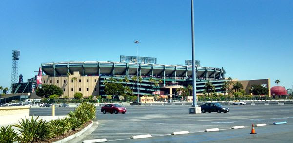 Angel Stadium of Anaheim...the home of the 2002 World Series champion, L.A. Angels of Anaheim.