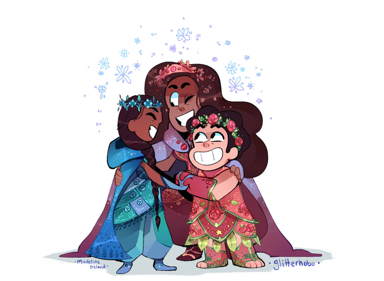Fancy fusion!! I saw your requests in the tags, guys. I love these besties. I imagine Steven would love twirling that dress. The petals would fan out and make an open rose! *・゚゚・*:.。..。.:*゚:*:✼✿ [More...