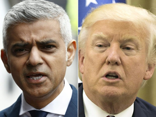 This combination of files pictures created on June 5, 2017 shows Mayor of London Sadiq Khan after visiting Borough High Street in London on June 5, 2017, the site of the June 3 terror attack, near to Borough Market and US President Donald Trump during his meeting with the Israeli President at his residence in Jerusalem on May 22, 2017. US President Donald Trump renewed his criticism of London Mayor Sadiq Khan on June 5, 2017, in the second such condemnation in the 48 hours since a terror attack in the British capital. Trump accused Khan of offering a 'pathetic excuse' for comments that Trump earlier misconstrued about policing in response to Saturday's attack, which left seven people dead.Khan had told Londoners there was 'no reason to be alarmed' about an increased police presence in the coming days. / AFP PHOTO / AFP PHOTO AND POOL / Odd ANDERSEN AND ATEF SAFADI (Photo credit should read ODD ANDERSEN,ATEF SAFADI/AFP/Getty Images)