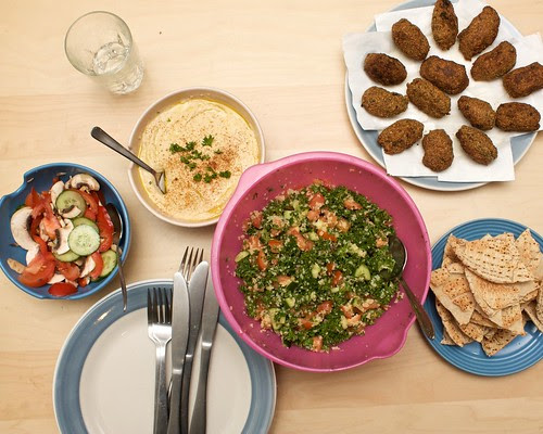 falafel, tabouli, hommus, bread and salad