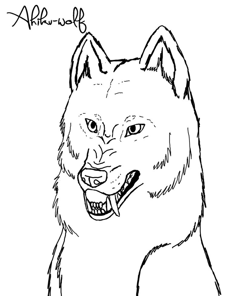 Growling Wolf Lineart FREE by AhikuWolf on DeviantArt