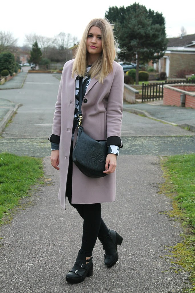 Topshop Coat and ASOS Cow sweater