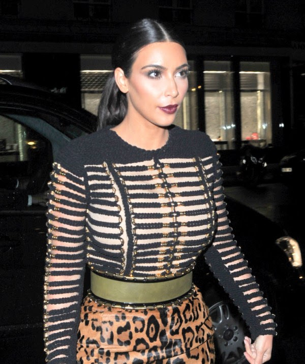 kim-kardashian-vogue-party-balmain-fall-2014-black-long-sleeve-rope-detailed-top-leopard-high-waist-pencil-skirt-hermes-suede-strappy-sandals