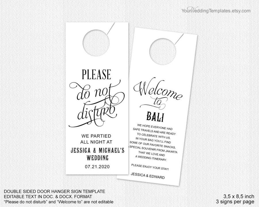 Wedding Favor Welcome Bag Rustic Wedding Editable PDF Printable Please Do Not Disturb Door Hanger Printable Wedding Door Hanger Template