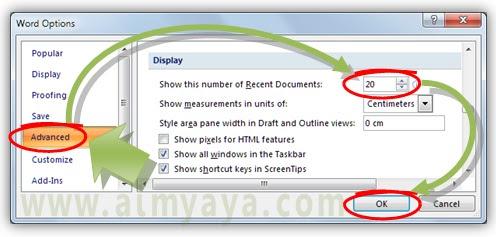 Gambar:Cara mengatur recent documents microsoft word