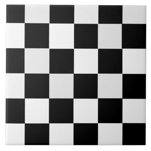 Black and White Checkered Ceramic Tile from Zazzle.