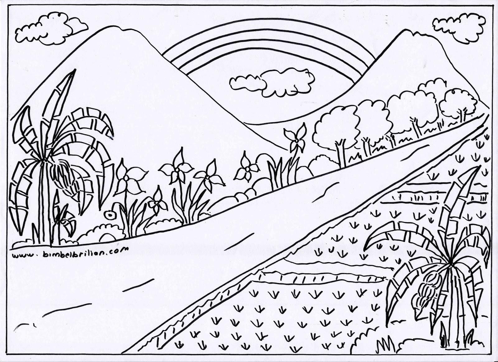 Gambar Mewarnai Pemandangan Sawah Dan Gunung GAMBAR