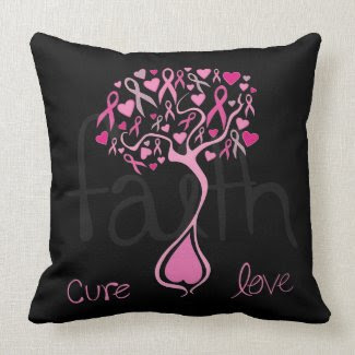 Pink Ribbon Tree Breast Cancer Awareness Pillow