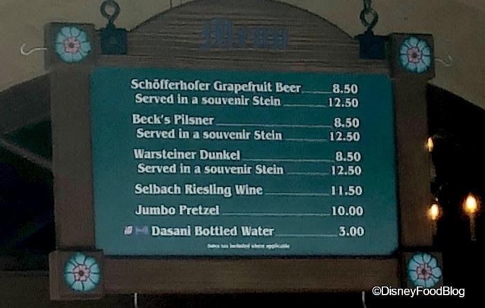 Germany Bier Cart Menu