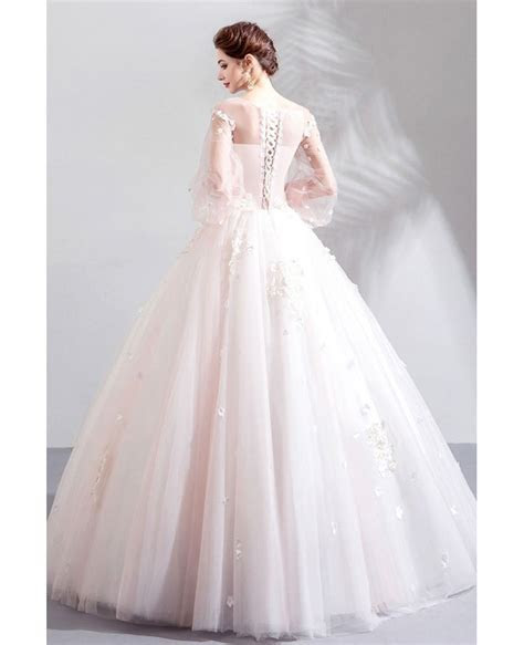 Fairy Floral Tulle Ball Gown Wedding Dress With Long