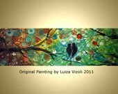 SALE 15% OFF Original Abstract Fantasy Birds Trees Landscape Whimsical Painting by Luiza Vizoli SERENADE for You