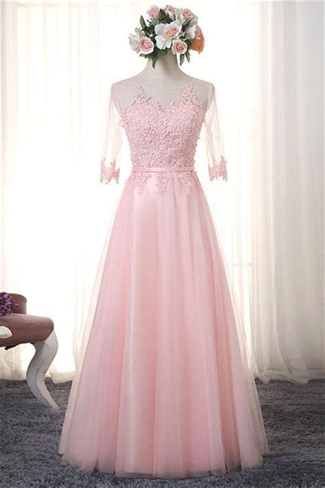 Pink Half Sleeve 2019 Formal Dresses Tulle lace Up Cheap
