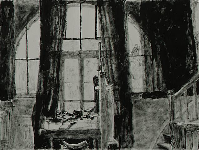 Avigdor Arikha, Studio windows with drawn curtains