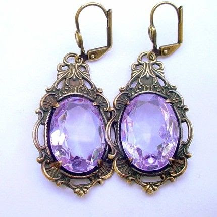 Handmade Jewelry on Etsy - Brass and Alexandrite Glass Lever Back Earrings (Alexandrite) Katofmanycolors by Katofmanycolors