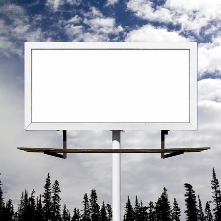Blank Billboard Sign Against Blue Sky Wilderness Background Mockup ...