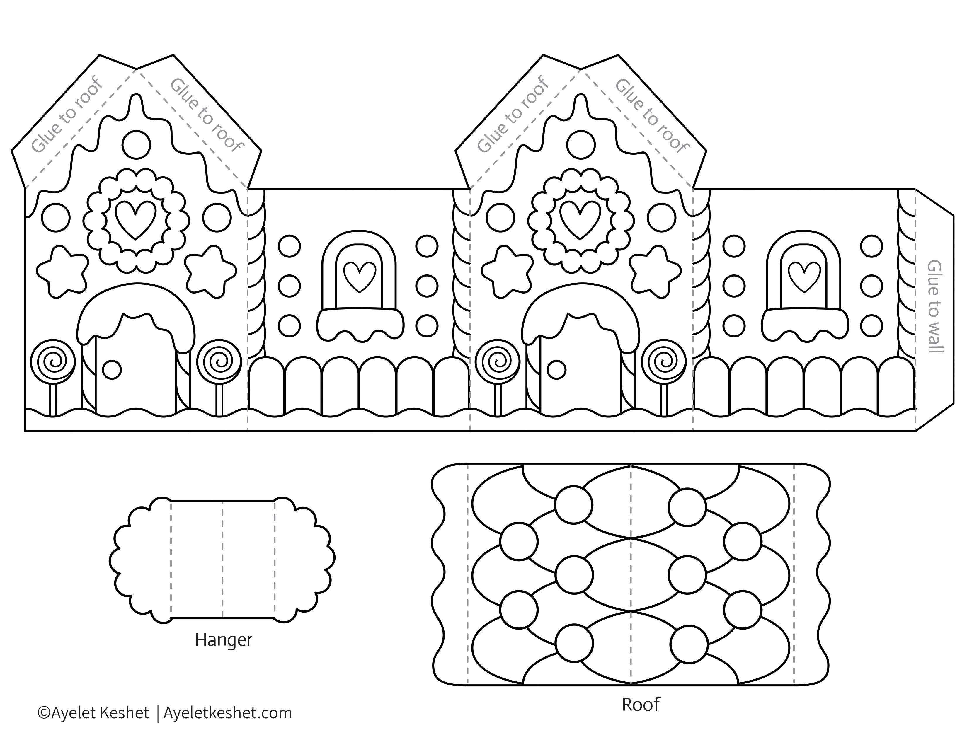 Printable gingerbread house template to color - Ayelet Keshet