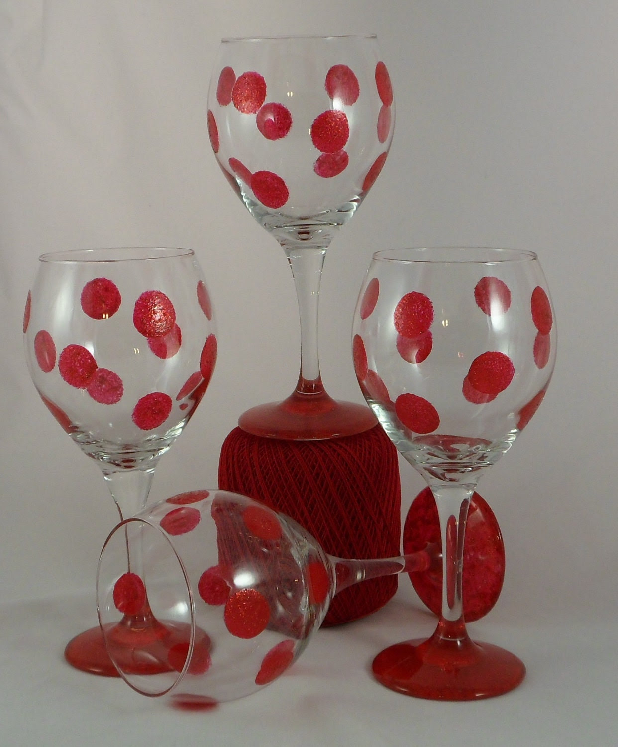 """Set of 4 Red Hand Painted Wine Glasses """"Glitter Dots"""""""