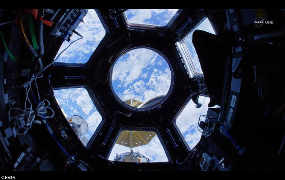 Nasa has unveiled the stunning Ultra HD video of the space station which uses a fisheye lens to give an incredible impression of actually being in orbit aboard the ISS. Shown, the view from the cupola, an observation deck often used to capture images of Earth.