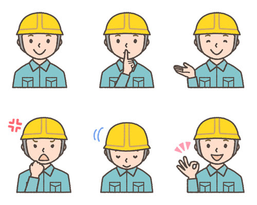ヘルメットをかぶった工事現場作業員の表情イラスト6種 可愛い無料